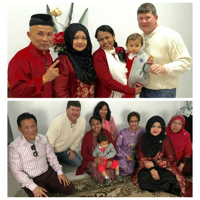 Munirah, Allen and their son, Adam, with hosts Ghazali and Yoshida (top photo) and with Chuck Lee and other guests (bottom photo).