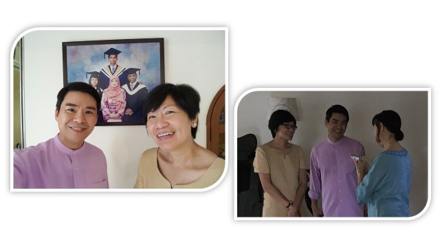 1)Ms Jenny Koh and Mr Joey Koh Eng Hwa who snapped a selfie in front of the SK family photo. My two children are Munirah SK and Imran SK. The second photo shows Ms Tan Shee Lah talking to Jenny and Joey.