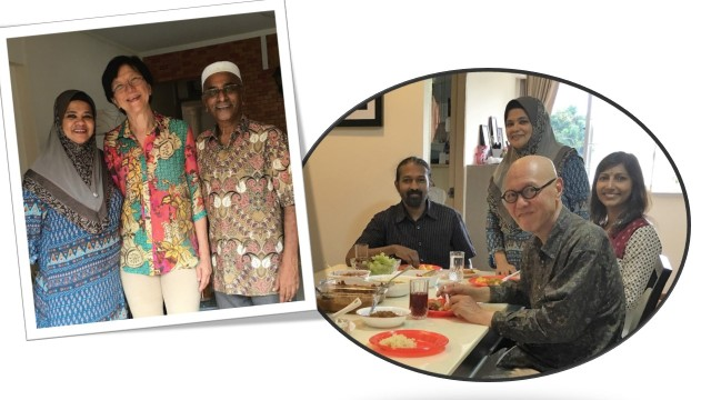 2)Ms Lim Bee Choo with Khairon Mastan and Shaik. The second photo shows historical blogger, Mr James Seah, taking lunch with fellow-visitors Mr Loganantham (background) and his wife, Thilaga, with host Khairon.