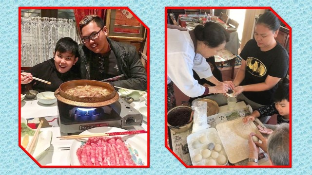 Mr Yacob's and Ms Soada's three children: (From left) Muhammad Yasir Yuuta and Muhammad Yusof Yuuki enjoying their dinner ; while Nur Zahrah Yuko is helping her Japanese grandparents in preparing New Year mocha. (Photo credit: Keiko Soada)