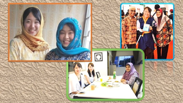 "Ms Sakura Tsutsumi met the writer's family three times within a year: (From left photo, first, when she (left) came with her university-mate, Ms Kaho Matsushita, for a 3-day homestay under JENESYS at the writer's home in February 2016 during which she wore the writer's daughter's Muslim-Malay; second, when she came to Singapore with a dance troupe to present Japanese dance items for the ""50 years of Singapore-Japan Friendship"" festival in October 2016, and third, when she and her friend, Ms Sayaka Ogawa, came to Singapore for a 3-day holiday in mid-February 2017."